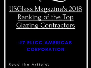 Elicc Americas Corporation is Highly Ranked in USGlass Magazine's 2018 Top Glazing Contractors